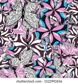 Abstract seamless pattern for clothes, boys, girls, wallpaper. Vector illustration. Different beautiful butterflies flying for coloring book. Seamless pattern background with insect.