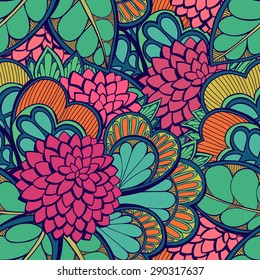 Abstract seamless pattern with clover flowers. Vector illustration.