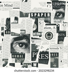 Abstract seamless pattern with a collage of magazine and newspaper clippings. Black and white vector background with unreadable text, headlines and illustrations. Wallpaper, wrapping paper or fabric