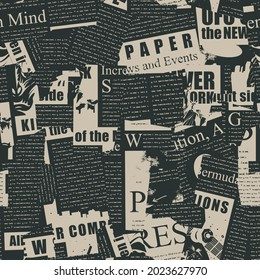 Abstract seamless pattern with a collage of magazine and newspaper clippings. Vector background with illegible text, titles and illustrations on a black. Wallpaper, wrapping paper, fabric