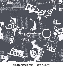 Abstract seamless pattern with collage of newspaper and magazine clippings. Monochrome vector background with illegible text and titles. Suitable for wallpaper, wrapping paper or fabric retro style