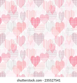 Abstract seamless pattern with color hearts