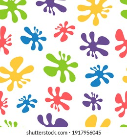 Abstract seamless pattern with colored blots. Bright background with multi-colored paint spots for Holi holiday, for children's fabric, for wrapping paper, for phone cases, floral abstract print.