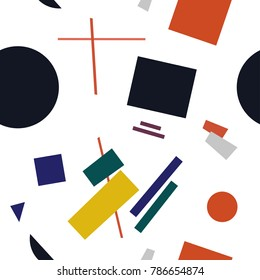 Abstract Seamless Pattern Composition in the style of Malevich. Futurism Supermatism Background.