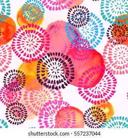 Abstract seamless pattern. Creative vector background with dots, geometric figures,stripes circles on watercolor dots. Funny wallpaper for textile and fabric.