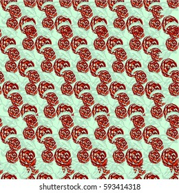 Abstract seamless pattern of cute hand painted simple flowers