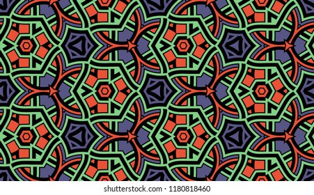 Abstract seamless pattern with decorative ornament of red, green, violet, and black shades