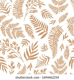 Abstract seamless pattern design with abstract blobs, hand drawn floral and fern leaves and branches. Tileable repeating background for branding,package, fabric and textile, wrapping paper