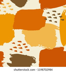Abstract seamless pattern design with hand drawn shapes and textures in orange, yellow and brown on light cream background. Wall art, greeting card, packaging design, gift wrap.