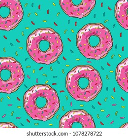Abstract seamless pattern with donuts and powder. Pattern for textiles, fabrics, clothes, backpacks, web, bed linen, wrapping paper.