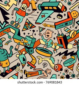 Abstract Seamless Pattern in Doodle Style. Mix of Funny Hand Drawn Creatures and Objects. Vector Illustration for Cover Design