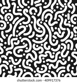 abstract seamless pattern with dots, spots, swirls in 80th style.