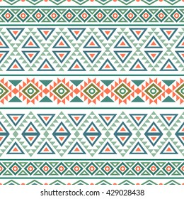 Abstract seamless pattern with ethnic aztec motives. Boho design. Tribal pattern. Folk stylized print template for paper and fabric. Summer fashion.