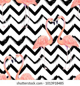 Abstract seamless pattern with exotic flamingo on striped chevron background. Summer watercolor print. Vector illustration