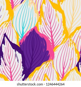 Abstract seamless pattern of exotic leaves in vivid colors. Bright vector design drawn in the technique of rough brush