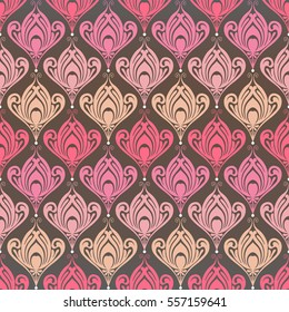 Abstract seamless pattern with floral elements in vector. Ornamental background with pink flowers