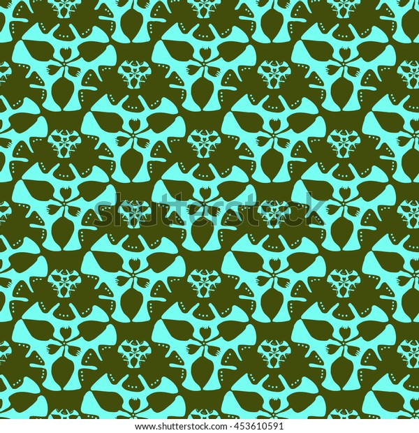 Abstract seamless pattern of floral elements.