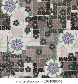 Abstract seamless pattern with flowers and rounded squares. Fashionable texture for clothes, things and other design.