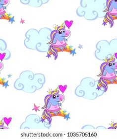 Abstract seamless pattern with fly unicorn seeing on rainbow,  dressed in ballerina dress and shoes, hold pink heart balloon, stars and cloud around white background. cartoon girlish wallpaper.