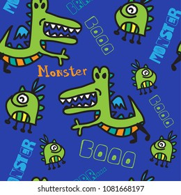 Abstract seamless pattern with flying monsters. Pattern for children, textiles, clothing, fabrics, web, bedding, backpacks, wrapping paper.