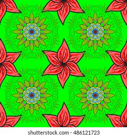 Abstract seamless pattern with fractal mandala on a light green background
