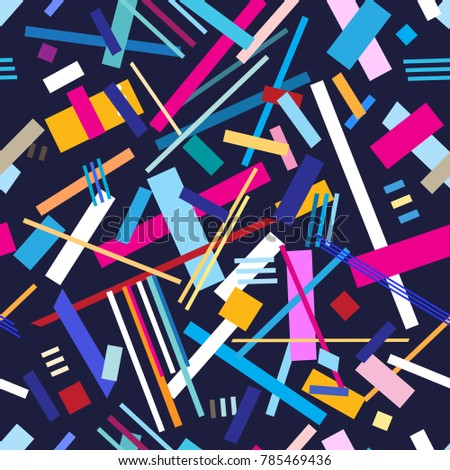 Abstract seamless pattern of geometric stripes on a blue background