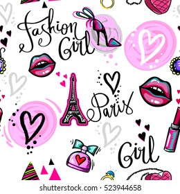 Abstract seamless pattern for girl, fashion clothes, teenagers.Repeated backdrop with kiss lips, patch badges Paris Eiffel Tower, shoes high hill,hearts, perfume bottle, triangles, lipstick, pink bag.