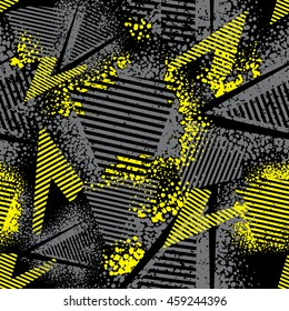 Abstract seamless pattern for girls and boys. Textured grunge urban dark wallpaper in black and yellow colors with geometric line, triangles, shape dots elements. Background for sport clothes.