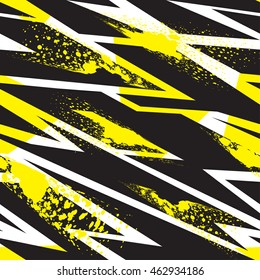 Abstract seamless pattern for girls and boys. Textured grunge urban  wallpaper in yellow, black and white colors with geometric line, triangles, ink, shape dots elements. Background for sport clothes.