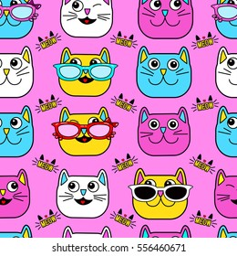 Abstract seamless pattern for girls, boys, clothes. Creative vector background with cat, glasses, eyes, mustache.Funny wallpaper for textile and fabric. Fashion style. Colorful bright.