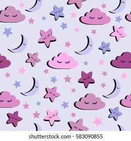 Abstract seamless pattern for girls or boys. Creative vector background with cloud, moon, star. Funny wallpaper for textile and fabric. Fashion style. Colorful bright picture for children.pink, purple