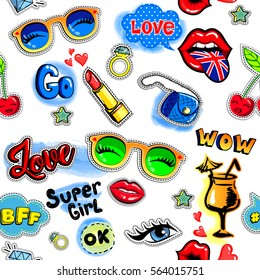 abstract seamless pattern for girls, fashion clothes, textile, wrapping paper, wallpaper. comics cartoon style  girlish hand drawing elements. cute  love repeated backdrop with glasses,kiss lips, bag