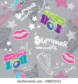 Abstract seamless pattern for girls. Modern background for boys and girls. Seamless background. Wallpaper for girls. Repeated pattern with camera, lips, shoes. Summer backdrop. Chaotic background.