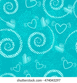 Abstract seamless pattern for girls,boys, clothes. Creative vector background with dots, geometric figures,hearts.Funny wallpaper for textile and fabric. Fashion style. Colorful bright.