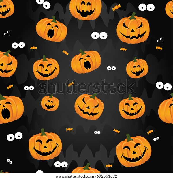 Abstract seamless pattern for girls,boys, kids, halloween, clothes. Creative vector background with pumpkin, scary face. Funny wallpaper for textile and fabric. Fashion style. Colorful bright.
