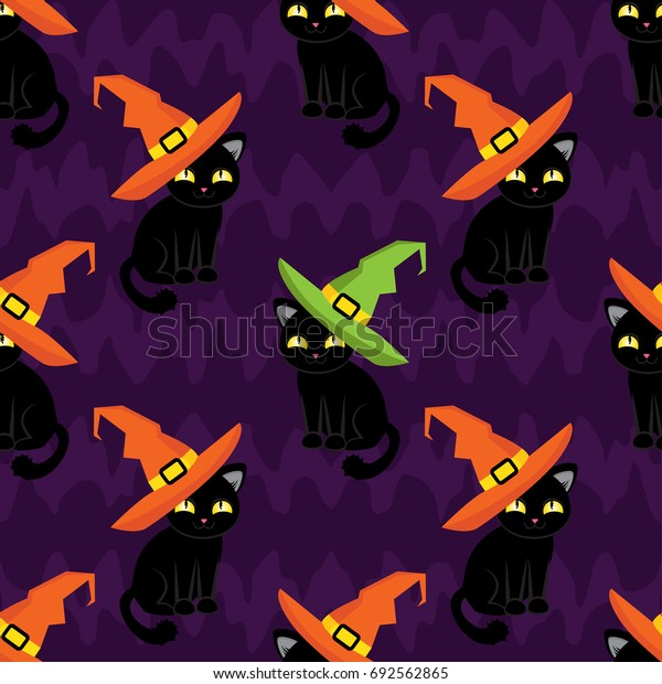 Abstract seamless pattern for girls,boys, kids, halloween, clothes. Creative vector background with cute cat in the hat. Funny wallpaper for textile and fabric. Fashion style. Colorful bright.