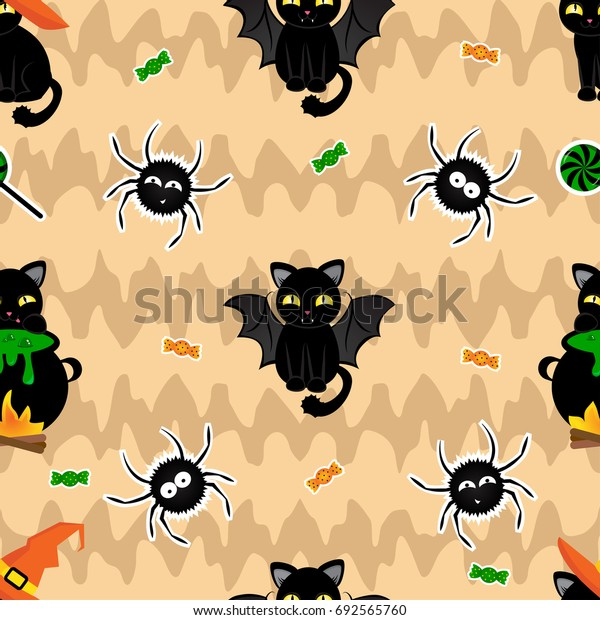 Abstract seamless pattern for girls,boys, kids, halloween, clothes. Creative vector background with cats, spider, candies. Funny wallpaper for textile and fabric. Fashion style. Colorful bright.