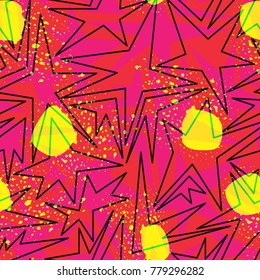Abstract seamless pattern for girls,boys.Creative vector background with hearts, triangle, stars.Funny wallpaper for textile and fabric.Fashion style.Colorful bright Pink, yellow, blue