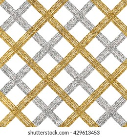 Abstract seamless pattern of gold silver cage