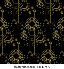 Abstract seamless pattern with gold sun, moon, star and geometric elements on black background. Modern wallpaper.