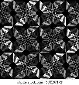 Abstract Seamless Pattern of Gray Scale Dots. Op Art Vector Background without Either Transparency or Gradient.