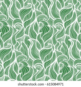 Abstract seamless pattern. Green leaves of plants, or the restless sea