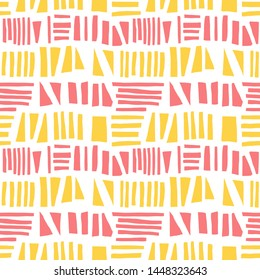 Abstract seamless pattern of hand drawn geometric elements, triangles and lines. Grunge texture.