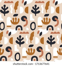 Abstract seamless pattern. Hand drawn shapes and doodle objects. Trendy surface design in collage style. Stamp texture. Vector template for fabric, textile, wrapping paper, covers, etc.