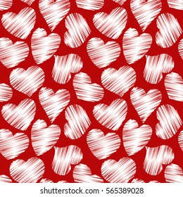 Abstract seamless pattern with hatched hearts on a red background. Vector eps 10.