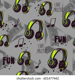 Abstract seamless pattern with headphones, notes, shape geometric elements, triangles, spray paint, ink. Grey background with bright element.  Funny Repeated  backdrop I Love Music