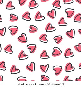 Abstract seamless pattern of hearts on white background. Image for a poster or cover. Vector illustration. Repeating texture. Figure for textiles.