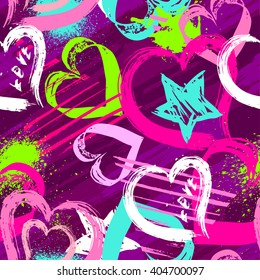 Abstract seamless pattern with hearts, urban elements, drops, brush, lines stars, sprays. Pink and blue wallpaper for girls. Grunge background with bright colors hearts and spay paint