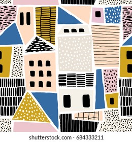 Abstract seamless pattern with houses with hand drawn textures and shapes. Perfect for fabric.textile,wallpaper. Vector Illustration
