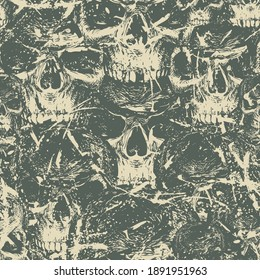 Abstract seamless pattern with human skulls. Dark vector background with ominous skulls in grunge style. Wallpaper, wrapping paper, fabric, graphic print for clothes, design for halloween party